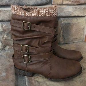 JustFab Brown Short Boot Knit Cuff 8.5 NIB